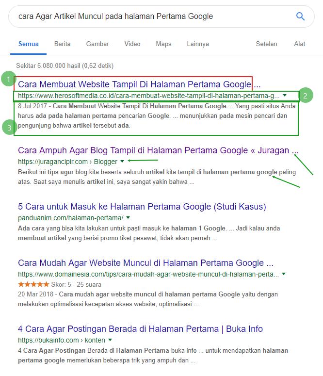 cara Agar Artikel Muncul pada halaman Pertama Google